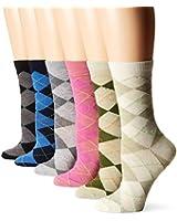 TeeHee Women's Ladies Value 6-Pack Crew Socks, Argyle, Nordic, Stripe, Flower