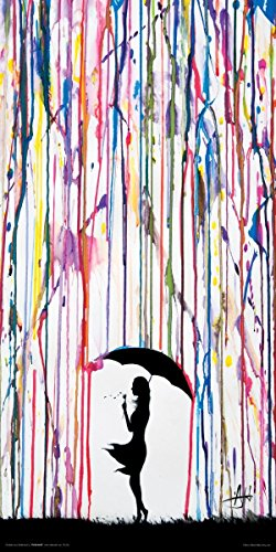 Marc Allante Girl Blowing Dandelion Under Umbrella Paint Rain Modern Contemporary Decorative Art Poster Print 12x24