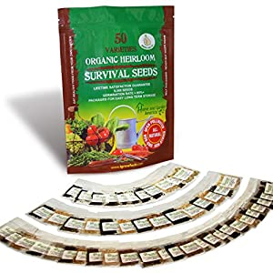 Grow For It! 100% Organic Heirloom Vegetable Garden Survival Seeds - 8000+ Vegetable Plant Seeds - 85% Germination Success Rate - 50 Varieties Of Vegetables - Non-Hybrid, Non-GMO - The ultimate Emergency Survival Seed Kit
