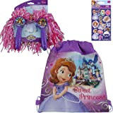 2-Piece Disney Jr. Princess Sofia The First Deluxe Pom Pom Holiday Gift Set for Kids - 1 Set of Deluxe Princess Sofia Pom Pom's, 1 Sofia Non Woven Sling Bag (11 in x 14 in) Plus 1 Pack of Sofia the First Stickers