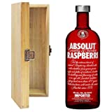 Absolut Raspberry Flavoured Vodka in Hinged Wooden Gift Box