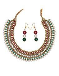Ratnakar Fashion Multi Coloured Diamonds Necklace Set For Women