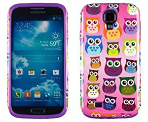DandyCase 2in1 Hybrid High Impact Hard Colorful Owl Pattern + Purple Silicone Case Cover For Samsung Galaxy S4 i9500 + DandyCase Screen Cleaner