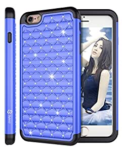iPhone 6 Plus Case, iPhone 6 Plus Bling Case, Style4U Studded Rhinestone Crystal Bling Hybrid Armor Case Cover for iPhone 6 Plus 5.5 Inch with 1 HD Screen Protector and 1 Stylus [Ocean Blue / Black]