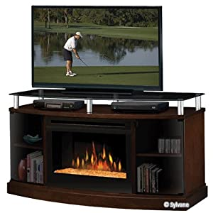 Dimplex Windham Flatpanel Tv Stand And Electric Fireplace In Mocha With Glass Ember Bed