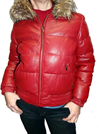 Sean John Puffered Leather Jacket with Zip Out Faux fur Hood-Red-M