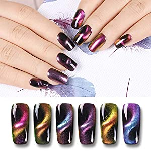 Born Pretty Magnetic Nail Polish 3D Cat Eye Chameleon Gorgeous Fingers Nails Polish for Women and Girls, 6 Bottles Set with Magnetic Stick 9D Effect (Color: 6 Colors+ Magnetic stick)