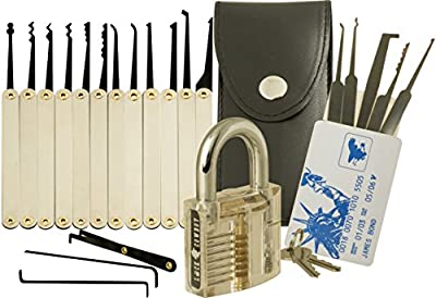 20-Piece Lock Pick Set with Transparent Padlock and Credit Card Lock Picking Tool Kit by LockCowboy + Guide for Beginner and Pro Locksmiths