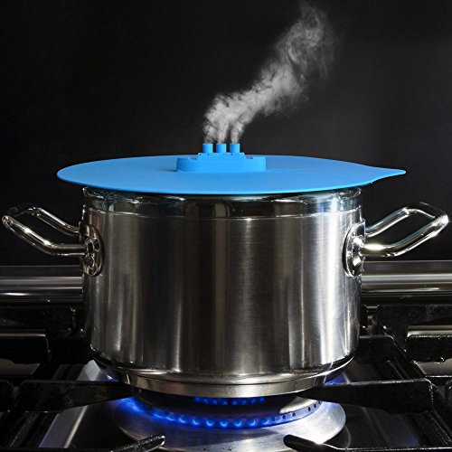 Steam Ship Silicone Steamer Lid Kitchen Tools Steaming Lid Cover for Pan (Blue)