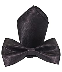 Greyon Black Bow Tie With Pocket square (GNA019)