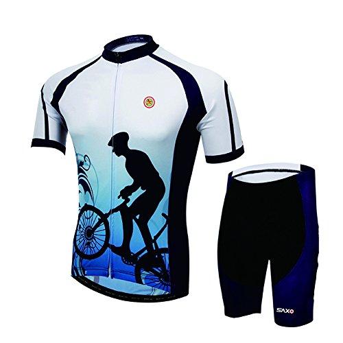 Shengbaohang estivo Unisex, con maniche corte, asciugatura rapida-Pantaloncini in Jersey da ciclismo, da indossare-Giacca da bicicletta da corsa, corti, sportivi, da allenamento, Pantaloncino Sportswea 3D Set1-Completo pantaloncini imbottiti