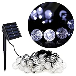 Outdoor Solar Power Decorative String Lights, Anko 30 LED 20 ft Water resistant Christmas Globe for Party,Wedding Decoration,Patio,Garden,Holiday,Tree Decor and More (Crystal Ball-White)