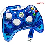 XFUNY(TM) Premium Newest Wired USB Cable Transparent Color Remote Controller w/Led Light For Microsoft Windows PC XBOX 360 XBOX360-Blue