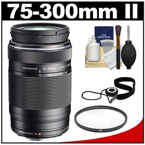 Olympus M.Zuiko 75-300Mm F/4.8-6.7 Ii Msc Ed Digital Zoom Lens (Black) With Uv Filter + Cleaning & Accessory Kit For Olympus Om-D E-M5, Pen E-P2, E-P3, E-Pl2, E-Pl3, E-Pl5, E-Pm1, E-Pm2 & Panasonic Micro 4/3 Digital Cameras