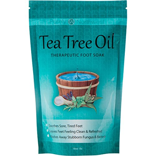 Tea Tree Oil Foot Soak With Epsom Salt, Helps Treat Nail Fungus , Athletes Foot & Stubborn Foot Odor - Combats Bacteria and Softens Calluses, Cracked Feet & Soothes Aches & Pains -16 oz (Salt For Feet compare prices)