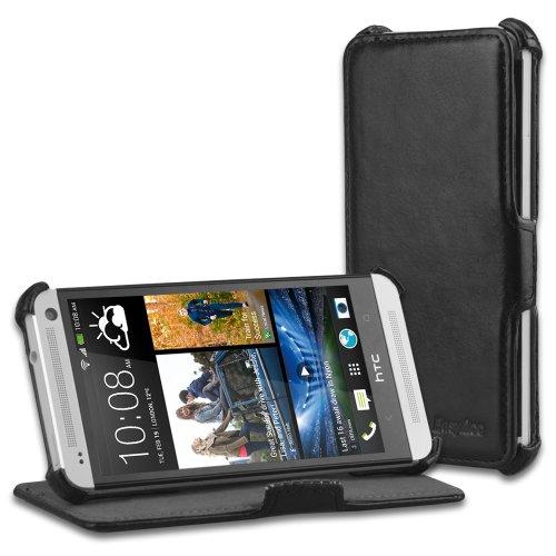 EasyAcc® Schutzhülle für HTC ONE hülle Flip Cover Leder Tasche Wallet Case mit Standfunktion Card Holder - Schwarz, PU Leder