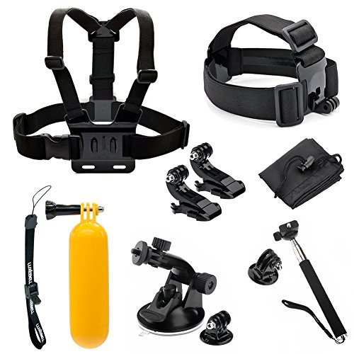 Luxebell 8-in-1 Accessories Kit for Gopro Hd Hero 4 Session, Hero3+, Hero3, Hero2 & Hero+ Lcd, Chest Mount Harness / Head Strap / Telescopic Pole / Suction Cup / Floating Handle Grip