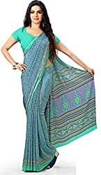 Design Willa Smooth feel Art crepe Sari (DWPC016,Blue)