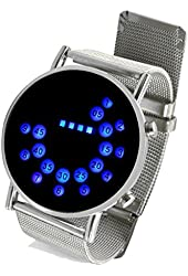 LED Round Mirror Blue Circles Stainless Steel Wrist Watch