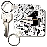 3dRose Art Deco Black and Pink Piano On White Note Background - Key Chains, 2.25 x 4.5 inches, set of 4 (kc_39051_2)
