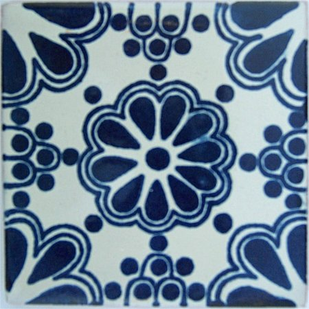 6x6 4 pcs Blue Bouquet Talavera Mexican Tile