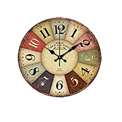 Cobblehome? Fashion 14 Inch Vintage France Paris Colourful French Country Tuscan Style Paris Wood Wall Clock Arabic Numbers
