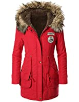 iLoveSIA Womens Winter Warm Military Coat Parka Hooded with Trim Fur
