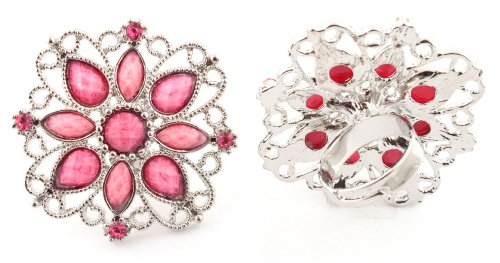 Ladies Pink Antique Styled Flower Metal Adjustable Finger Ring