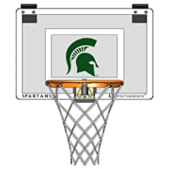 Door Mounted Mini Basketball Hoop - Mini Collegiate Hoop - Michigan State University by JustInTymeSports