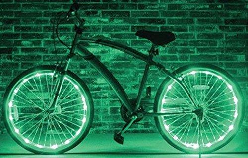 Welltop® 2 Pcs Wheel Steel Wire Led Light Bike Wheel Brightz Waterproof Led Bicycle Safety Light Lightweight Accessory (Green)