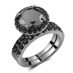 Caperci Black Sterling Silver 925 Black Round Diamond Spinel Solitaire Wedding Ring Bridal Set Size 8