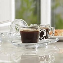 Pasabahce Espresso Set of 6 Cups & Saucer,80 ml