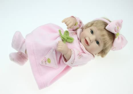 "Terabithia Mini 11"" Lovely Real Nouveau née bébé Poupées Collectible Smiling Baby Fille Headband Pink Bow"