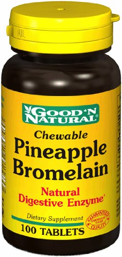 Chewable Pineapple Bromelain - Natural Digestive Enzyme, 100 tabs,(Good'n Natural)