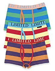 3 Pack Limited Cotton Rich Striped Trunks