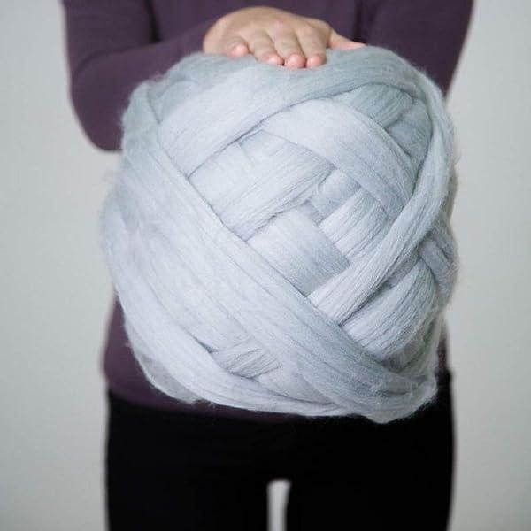 Giant Yarn for Arm Knitting or Roving Chunky Merino Wool Yarn Super Bulky Yarn Extreme Knitting Crochet Weaving Gray 8 lbs (Color: Gray, Tamaño: 8 lbs)