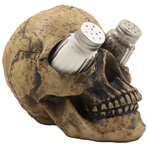 Scary Evil Human Skull Salt and Pepper Shaker Set