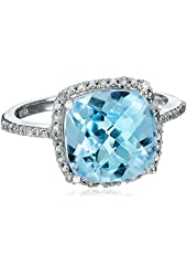 10k White Gold Blue Topaz and Diamond (0.1 cttw, G-H Color, I2-I3 Clarity) Cushion Cut Ring
