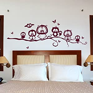 eulenwandtattoo eulenfreunde auf ast eulen eule wandtattoo eulen eulentattoo m962 xxl amazon. Black Bedroom Furniture Sets. Home Design Ideas