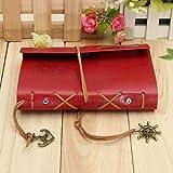"""7 """"x5"""" Rétro Vintage couverture de cuir Notebook Journal Diary chaîne vide nautique rouge..."""