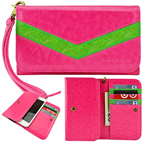 caseen ViVi 'Lumi' Women's Smartphone Wallet Clutch Wristlet Case (Hot Pink/Glitter Green) for Apple iPhone 6 Plus, Samsung Galaxy Note 4 / Edge / 3 / 2 / II, Google Nexus 6, Galaxy S5 Active, HTC One M8, Sony Xperia Z3 / Z3v / Z2 / Z1, LG G3 / G Pro 2 / Intuition, ASUS PadFone X [Up to 6.25 x 3.5 Inch Smartphones] – Large Size