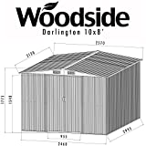 Woodside Darlington 10 x 8' Metal Garden Apex Roof Shed with FREE Foundation