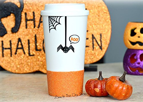 Halloween Mug, Boo Mug, Autumn Mug, Spider mug, Happy Halloween Mug, Scary Mug, Glitter Coffee Mug, Glitter Travel Mug,Hocus Pocus, (Scary Halloween Coffee Mugs)