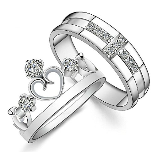 Gold Plated Cubic Zirconia Water Prints Couple Ring For Women