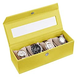 Ecoleatherette Handcrafted Eco Friendly 4 Watch Box, Watch Case, Watch Organizer (Lime Yellow)