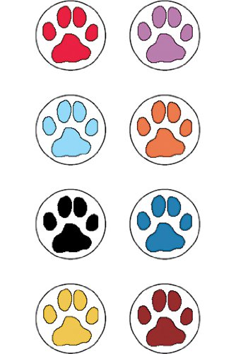 20 Pack TEACHER CREATED RESOURCES ME PUPPY PAW PRINTS MINI STICKERS