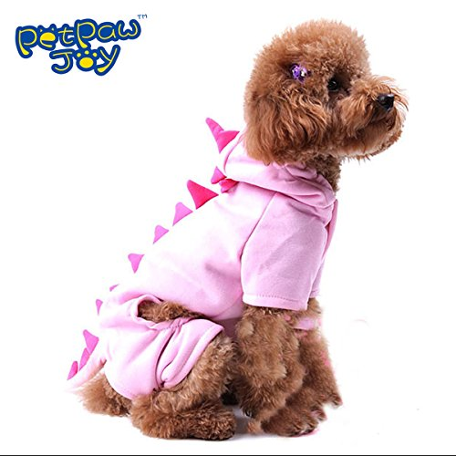 [PETPAWJOY DOG COSTUME #1 CUTE DINOSAUR DOG COSTUME Hoodie Dog Costume Pink Warm Soft Coral Fleece Puppy Winter Dog Costume-Make Your Dog Special / Cute like a DINOSAUR in] (One Of A Kind Costumes)