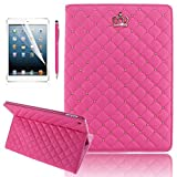 IPad Air Case, YiaMia(TM) Luxury Crown Pattern Heavy Duty Rugged Bling Bling Diamond Protective Stand IPad 5 Case...