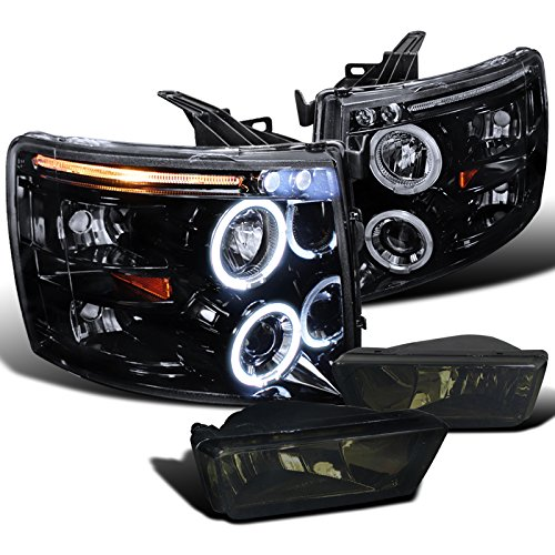 Chevy Silverado Glossy Black LED Halo Projector Headlights+Smoke Fog Lamps (09 Chevy Silverado 2500 Grill compare prices)