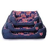 (ミルキー)milkee ペット用ベッド ペット用ソファ クッション マット クッション 犬・猫用 簡易 洗える 防水 もこもこ 保温 イギリス 国旗柄 あったか 大型犬 中型犬 小型犬 全3サイズ (L)